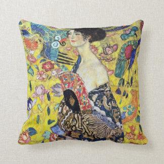 Woman with Fan by Gustav Klimt Cushion
