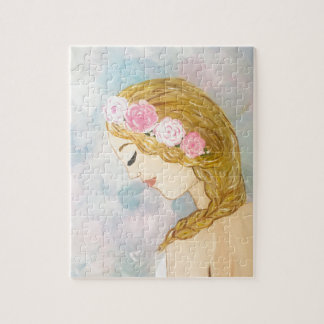 Woman with Flowers in her Hair Jigsaw Puzzle