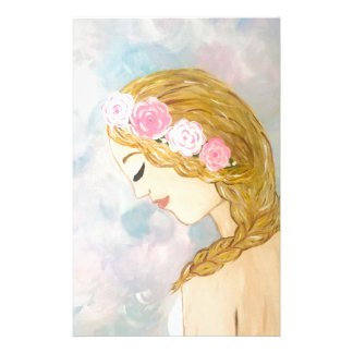 Woman with Flowers in her Hair Stationery