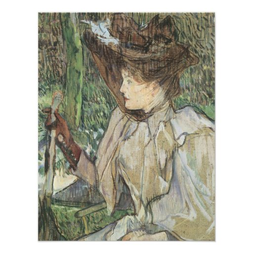 Woman with Gloves by Toulouse Lautrec, Vintage Art Custom Announcement