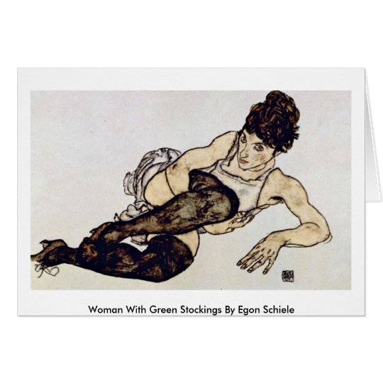 Woman With Green Stockings By Egon Schiele Card