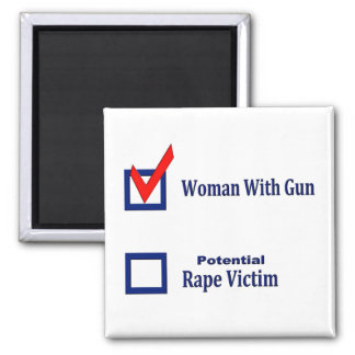 Woman With Gun Square Magnet