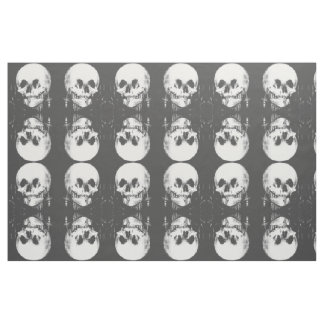 Woman with Halloween Skull Reflection In Mirror Fabric