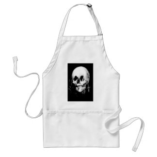 Woman with Halloween Skull Reflection In Mirror Standard Apron