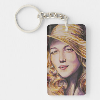 Woman with hat Double-Sided rectangular acrylic key ring