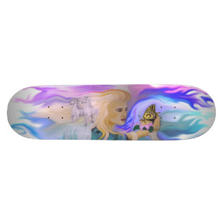 Woman with horse and butterfly on Lotus bloom Skateboard Decks