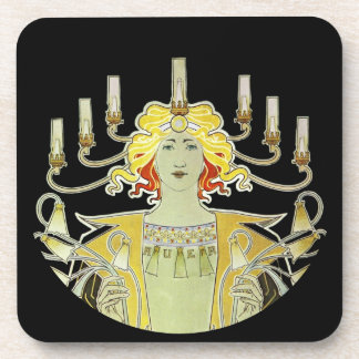 Woman with Lamp Light Beverage Coaster