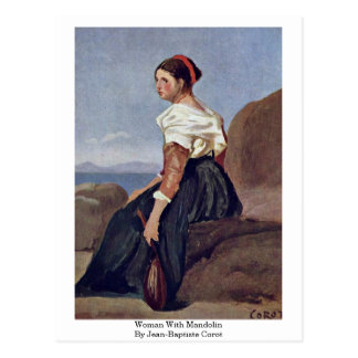 Woman With Mandolin By Jean-Baptiste Corot Postcard