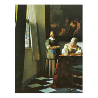 Woman with messenger by Johannes Vermeer Postcard