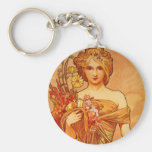 Woman with Oragna Bouquet Basic Round Button Key Ring