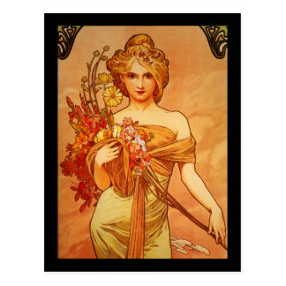 Woman with Oragna Bouquet Postcard