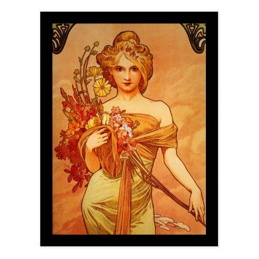 Woman with Oragna Bouquet Postcards