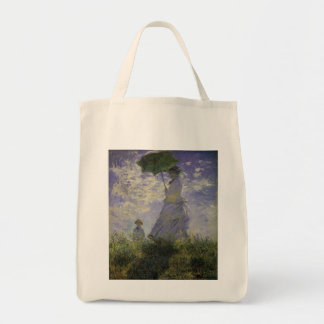 Woman with Parasol by Claude Monet, Vintage Art Grocery Tote Bag