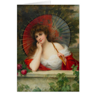 Woman With Parasol Greeting Card