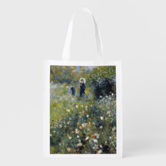Woman with Parasol in a Garden by Renoir Reusable Grocery Bag