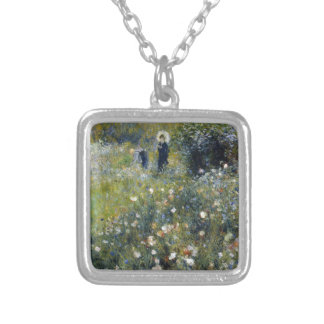 Woman with Parasol in a Garden Silver Plated Necklace