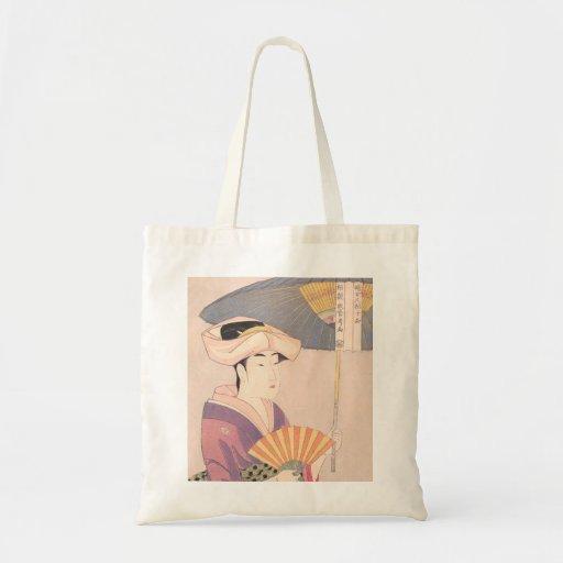 Woman with Parasol Kitagawa Utamaro japanese lady Bag