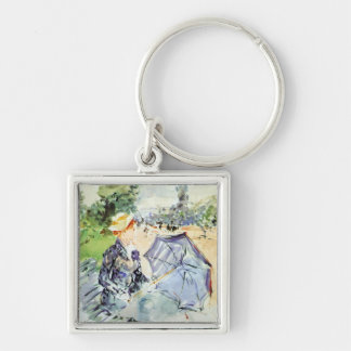 Woman with Parasol sitting in the park by Morisot Key Chains