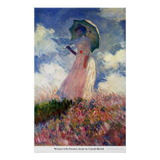 Woman with Parasol, study by Claude Monet Poster