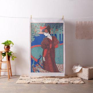 Woman With Peacocks Art Nouveau Vintage Fine Art Fabric