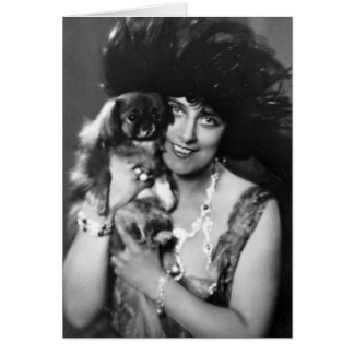 Woman with Pekingese, 1920s Greeting Card
