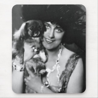 Woman with Pekingese, 1920s Mouse Pad