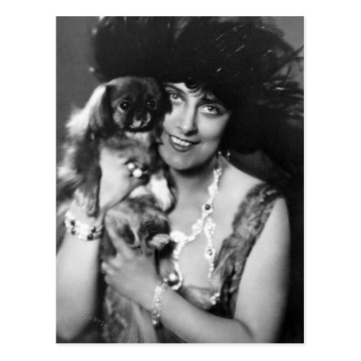 Woman with Pekingese, 1920s Postcard