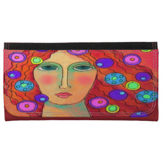 Woman with Red Hair and Circles Digital Painting Leather Wallet For Women