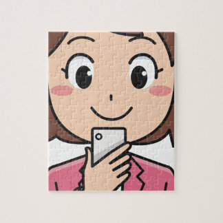Woman with Smartphone Jigsaw Puzzle