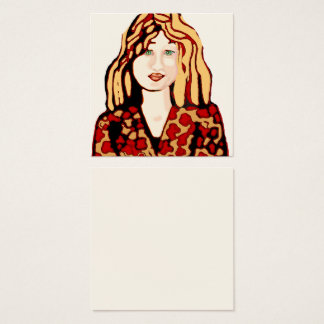 Woman with strawberry blonde hair and green eyes square business card