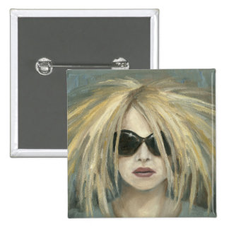 Woman with Sunglasses Big Hair Oil Painting Pin