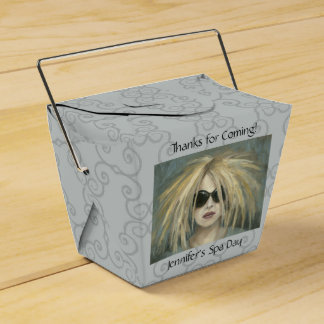 Woman with Sunglasses & Big Hair Oil Painting Party Favor Boxes