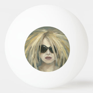 Woman with Sunglasses & Big Hair Oil Painting Ping Pong Ball