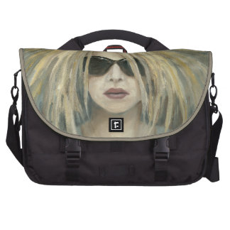 Woman with Sunglasses Big Hair Oil Painting Laptop Bag