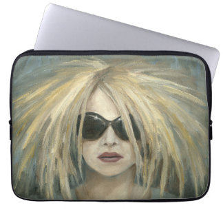 Woman with Sunglasses Big Hair Oil Painting Laptop Sleeves