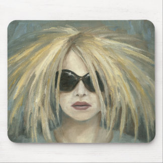 Woman with Sunglasses Big Hair Oil Painting Mouse Pad