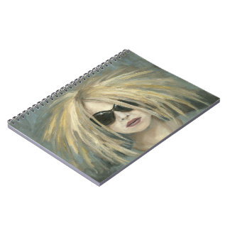 Woman with Sunglasses Big Hair Oil Painting Spiral Notebook