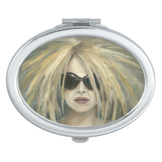 Woman with Sunglasses Big Hair Oil Painting Makeup Mirrors