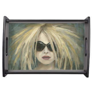 Woman with Sunglasses Big Hair Oil Painting Service Tray