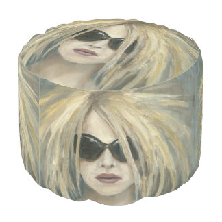 Woman with Sunglasses & Big Hair Oil Painting Round Pouf