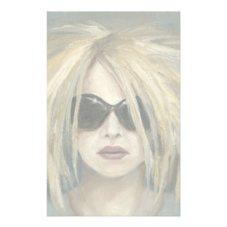 Woman with Sunglasses Big Hair Oil Painting Stationery Design