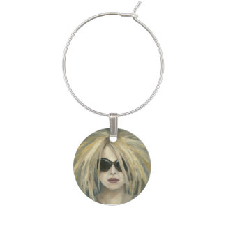 Woman with Sunglasses Big Hair Oil Painting Wine Glass Charm