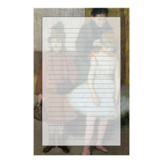 Woman with two little girls (pastel) custom stationery