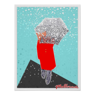 Woman with Umbrella Poster