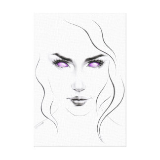 Woman with violet eyes minimal line art stretched canvas print