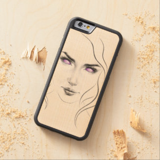 Woman with violet eyes minimal line art carved® maple iPhone 6 bumper case