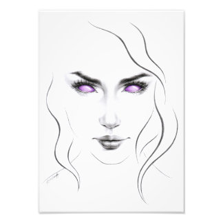 Woman with violet eyes minimal line art Print Photographic Print