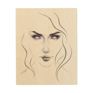 Woman with violet eyes minimal line art Wood print