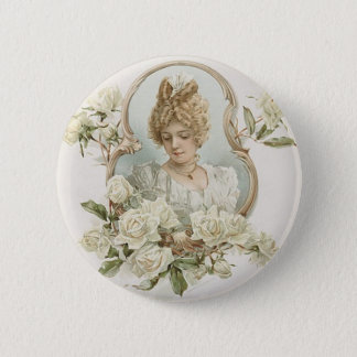 Woman with White Roses Button