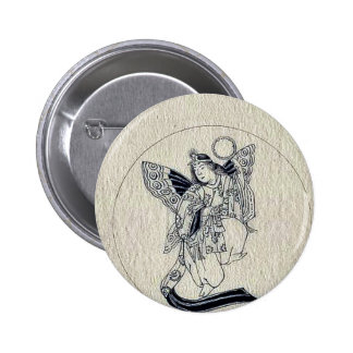 Woman with wings-religious figure button